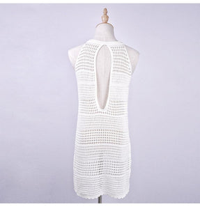 Backless Knitwear Beach Hollow Cover-Up