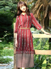 Load image into Gallery viewer, Red Half Sleeves Midi Beach Bohemia Dress