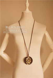 Retro National Wind Alloy Oak Large Leaves Wooden Bright Drill Long Necklace