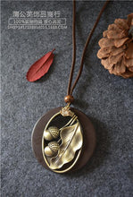 Load image into Gallery viewer, Retro National Wind Alloy Oak Large Leaves Wooden Bright Drill Long Necklace