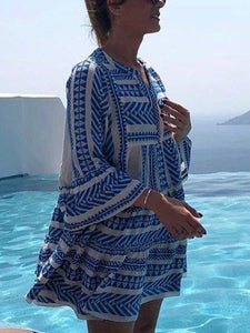 Boho Printed Tribal Bell Sleeve Dresses