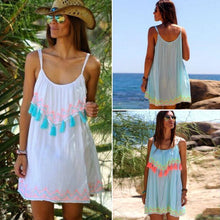 Load image into Gallery viewer, Tassel Lace Spaghetti Strap Sleeveless Beach Mini Dress