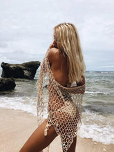 Load image into Gallery viewer, Beach Shawl Sunscreen Sexy Fishnet Sequin Triangle Cover-up