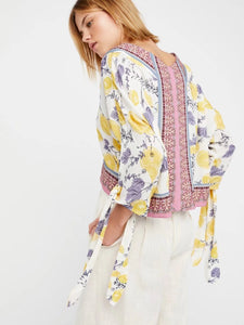 Summer Loose Bat Sleeves Straps V-Neck Beach Print Tops