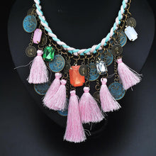 Load image into Gallery viewer, Bohemian Colorful Tassels Necklace Ethnic Coins Choker