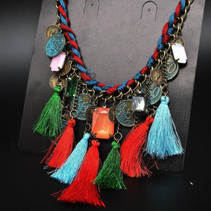 Bohemian Colorful Tassels Necklace Ethnic Coins Choker