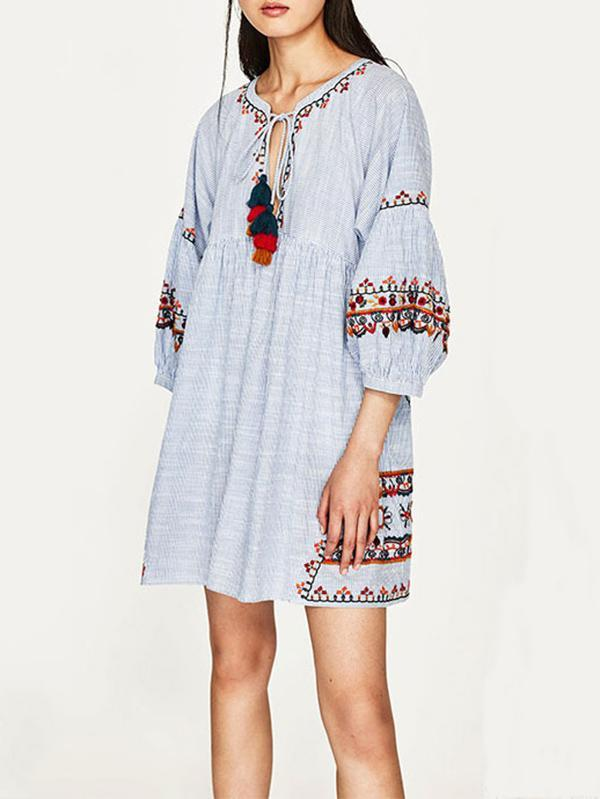 Embroidered Puff Sleeves Mini Dress