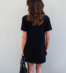 Women Floral Short Sleeve Boho Black Mini Dress