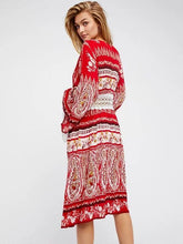 Load image into Gallery viewer, Printed Hollow Belted Bohemia Dress