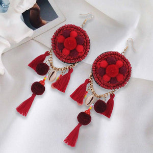Ethnic Bohemia Dangle Pompom Shell Beads Silk Long Tassel Earrings