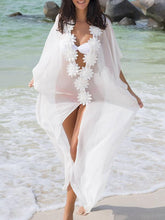 Load image into Gallery viewer, White Flower Chiffon Cover-Ups Swimwear