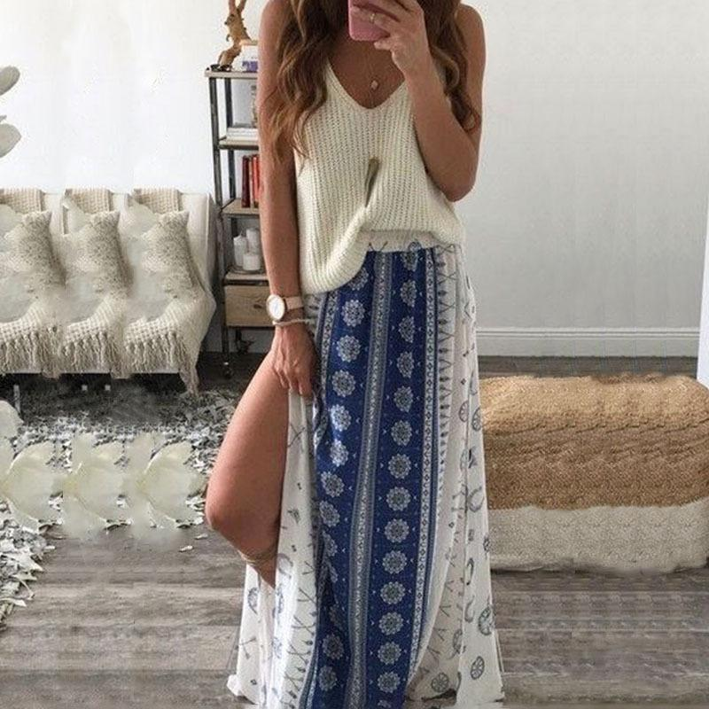Boho Side Split Beach Bust Skirt