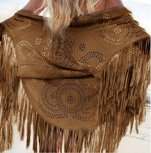 Load image into Gallery viewer, Boho Solid Color Faux Suede Shawl Asymmetric Tassel Beach Cover-up