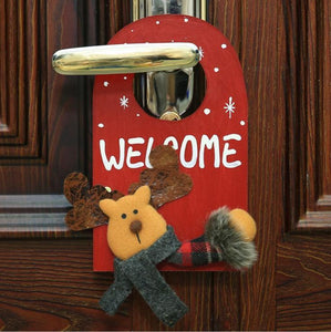 Santa Deer Pattern Door Decor for House Bar Christmas Decoration
