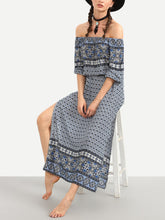 Load image into Gallery viewer, Ethnic Boho Style Floral Print Off the Shoulder Long Dress