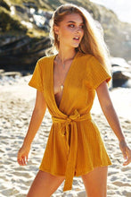 Load image into Gallery viewer, Solid Color Deep V Neck Short Sleeve Belted Rompers