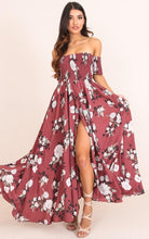 Load image into Gallery viewer, Print Off Shoulder Split Beach Boho Maxi Dress