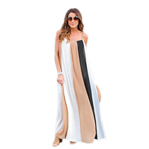 Sling Chiffon Beach Large Size Striped Dress