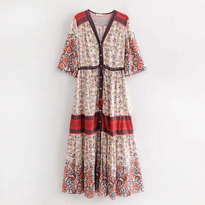 Print Short Sleeve V Neck Vintage Bohemia Dress
