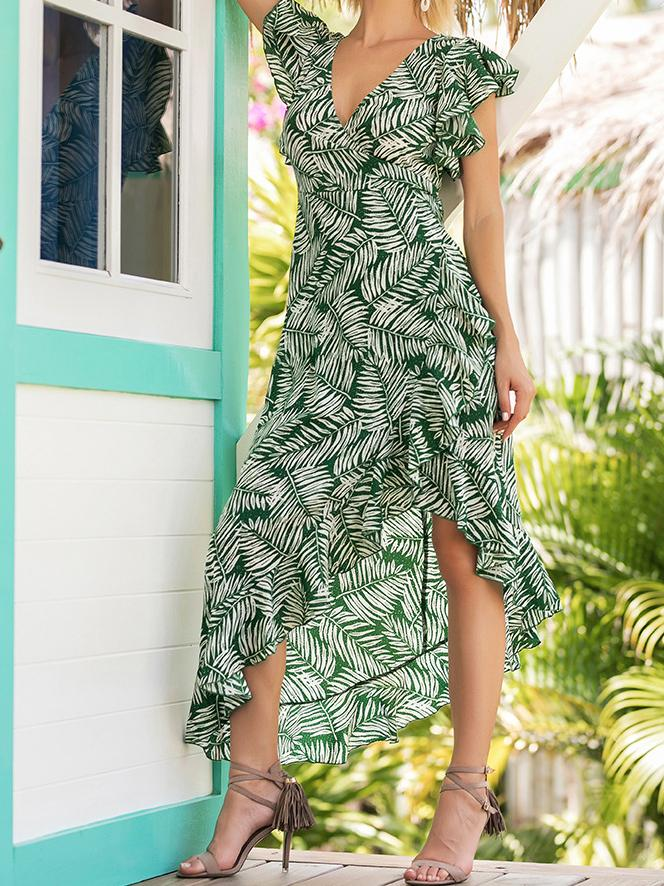 Sexy Printed V Neck Short Sleeve Irregular Dress