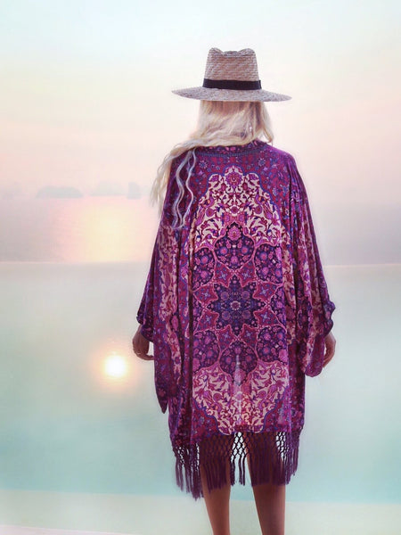 Chiffon Printed Tassel Cardigan Beach Bikini Cover Up