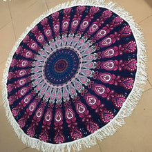 Load image into Gallery viewer, Two colors Flower printed fringed beach towel sun shawl Variety scarf yoga cushion Mat