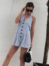 Load image into Gallery viewer, Stripe Button Halter Beach Rompers