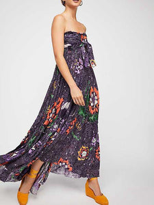 Sexy Bohemian V-Neck Print Slits Chiffon Beach Dress