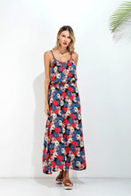 Load image into Gallery viewer, Floral Print Spaghetti Strap Backless Bohemia Maxi Dress