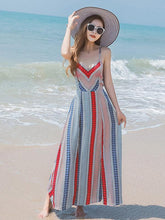 Load image into Gallery viewer, Sexy Bohemia Spaghetti Straps Deep V Neck Backless Beach Maxi Dress