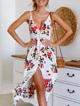 Load image into Gallery viewer, Floral Print Spaghetti Strap Split Beach Dress