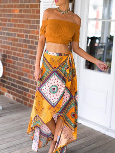 2018 Bohemia Split High Waist Skirt