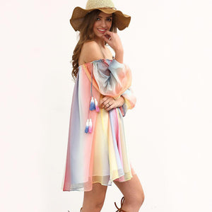 Chiffon Off Shoulder Long Sleeve Beach Mini Dress