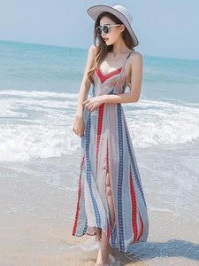 Sexy Bohemia Spaghetti Straps Deep V Neck Backless Beach Maxi Dress
