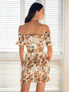 Floral Print Off Shoulder Short Sleeve Backless Bodycon Mini Dress