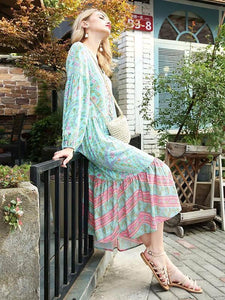 Bohemia Floral V Neck Long Sleeve Maxi Dress