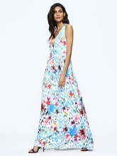 Load image into Gallery viewer, Floral Print Sleeveless Deep V Neck Bohemia Maxi Dress