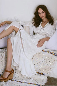 2018 new arrival Sexy crocheted lace dress single-breasted lady dress