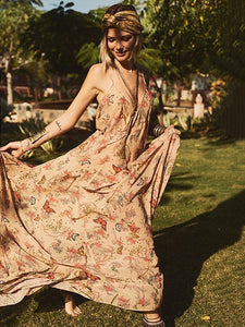 Floral Print Halter Beach Bohemia Maxi Dress