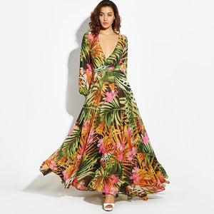 Print Deep V Neck Long Sleeve Bohemia Maxi Long Dress