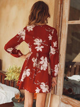 Load image into Gallery viewer, Floral Print V Neck Long Sleeve Mini Dress