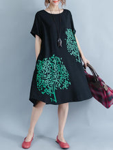 Load image into Gallery viewer, Print Round Neck Short Sleeve Loose Midi Dress