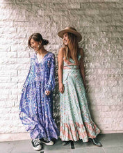 Load image into Gallery viewer, Bohemian Floral Long Sleeve V-neck Button Maxi Loose Dress