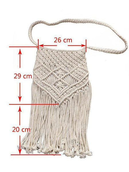 Vintage Knit Tassel White Casual Bag For Women