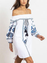 Load image into Gallery viewer, Fashion Embroidery Off-the shoulder Tassels Mini Dress