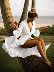 Lace Half Sleeves Beach Cover Up