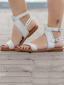 Solid Color Casual Open Toe Flat Sandals Shoes