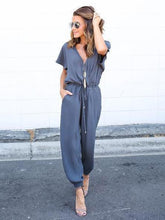 Load image into Gallery viewer, V Neck Short Sleeve Solid Color Jumpsuit Romper