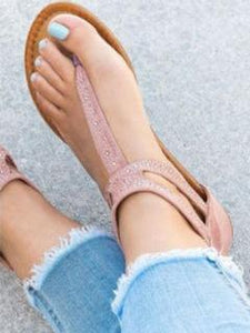 Summer Beach Solid Color Flat Sandals Shoes