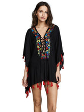 Load image into Gallery viewer, Embroidered Tassel Loose Bikini Cover Up